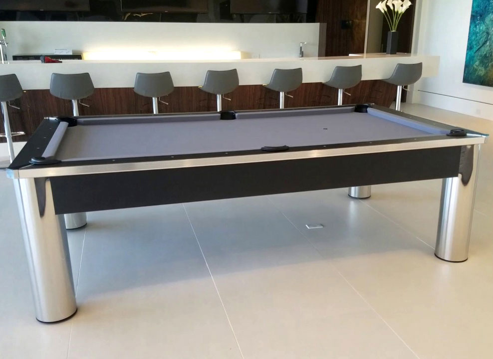 Spectrum Pool Table Contemporary Design Chrome And Black Finish - Chrome pool table