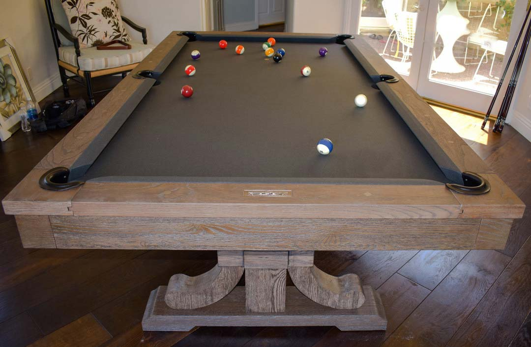 The Carmel Pool Table Dining Weathered Oak Finish