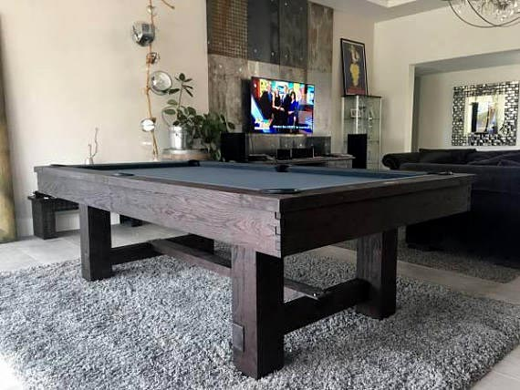 Reno Pool Table With Optional Dining Top Rustic Dark Chestnut Finish - Reno pool table