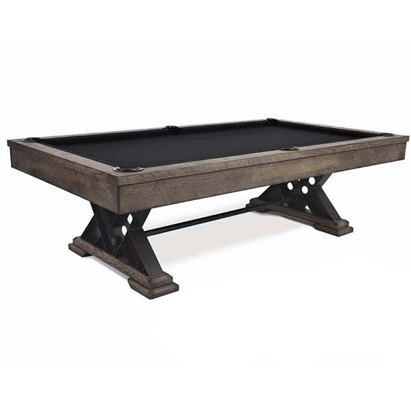 The Vienna Rustic Pool Table Has Stylish Metal V Shaped