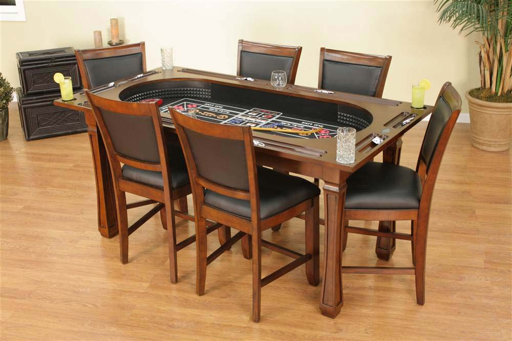 The Burlington Hi Top 3 In 1 Suede Game Table With Six Chairs